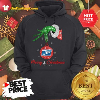 Official Grinch Hand United States Postal Service Merry Christmas Hoodie - Design by Thefristtees.com