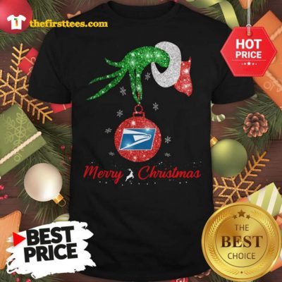Official Grinch Hand United States Postal Service Merry Christmas Shirt - Design by Thefristtees.com
