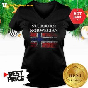 Iceland Flag Stubborn Nor Wegian V-neck - Design by Thefristtee.com