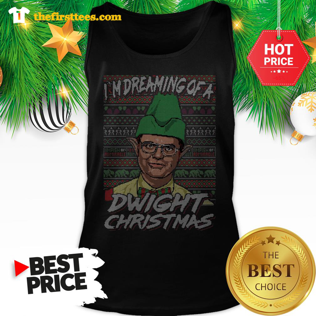 Official I'm Dreaming Of A Dwight Christmas Ugly Tank Top