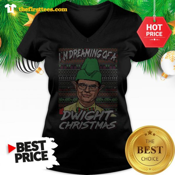 Official I'm Dreaming Of A Dwight Christmas Ugly V-Neck