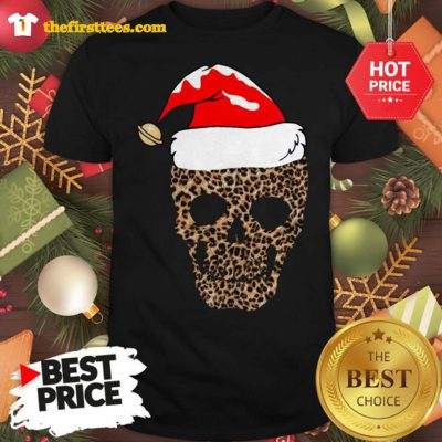 Official Leopard Skull Santa Hat Christmas Shirt - Design by Thefristtees.com