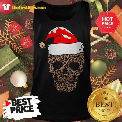 Official Leopard Skull Santa Hat Christmas Tank Top