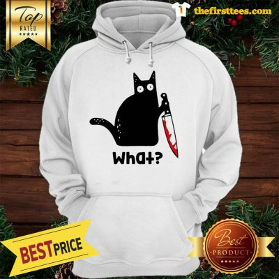Official Murderous Cat With Knife Cat What Black Cat Blood Hoodie - Design by Thefristtees.com