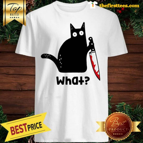 Official Murderous Cat With Knife Cat What Black Cat Blood Shirt - Design by Thefristtees.com