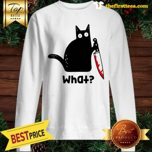 Official Murderous Cat With Knife Cat What Black Cat Blood Sweatshirt - Design by Thefristtees.com