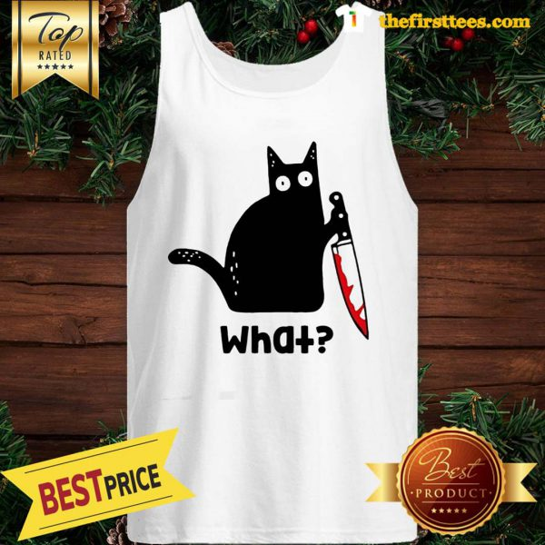 Official Murderous Cat With Knife Cat What Black Cat Blood Tank Top - Design by Thefristtees.com
