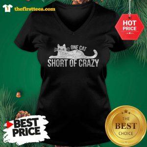 Official One Cat Short Of Crazy V-neck - Design by Thefristtees.com