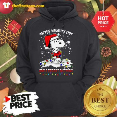 Official Snoopy On The Naughty List And I Regret Nothing Christmas Hoodie - Design by Thefristtees.com
