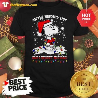 Official Snoopy On The Naughty List And I Regret Nothing Christmas Shirt - Design by Thefristtees.com
