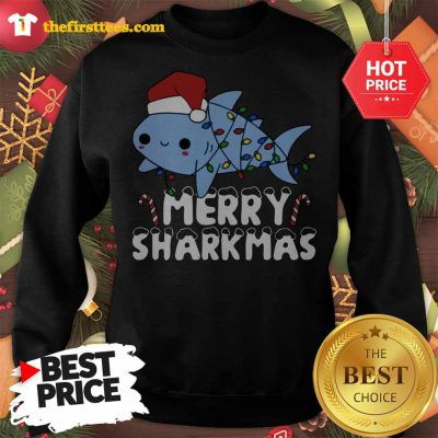 Santa Shark Merry Sharkmas Lovely Sweatshirt - Design by Thefristtees.com