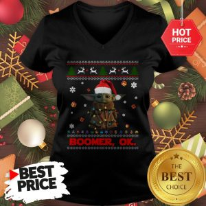 The Mandalorian Baby Yoda Boomer Ok Ugly Christmas V-Neck