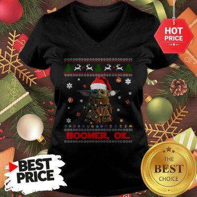 The Mandalorian Baby Yoda Boomer Ok Ugly Christmas V-Neck