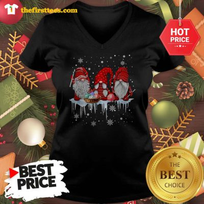 Three Gnomes Small In Red Costume Christmas Wonderful V-neck - Design by Thefristtees.com