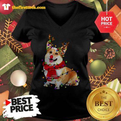 Corgi Reindeer Christmas Lights Pajama Lovely V-neck - Design by Thefristtees.com