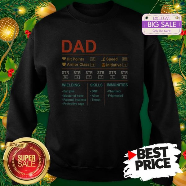 Dad Hit Points Speed Armor Class Initiative Wielding Vintage Sweatshirt