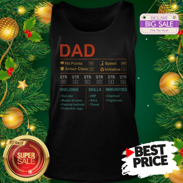 Dad Hit Points Speed Armor Class Initiative Wielding Vintage Tank Top