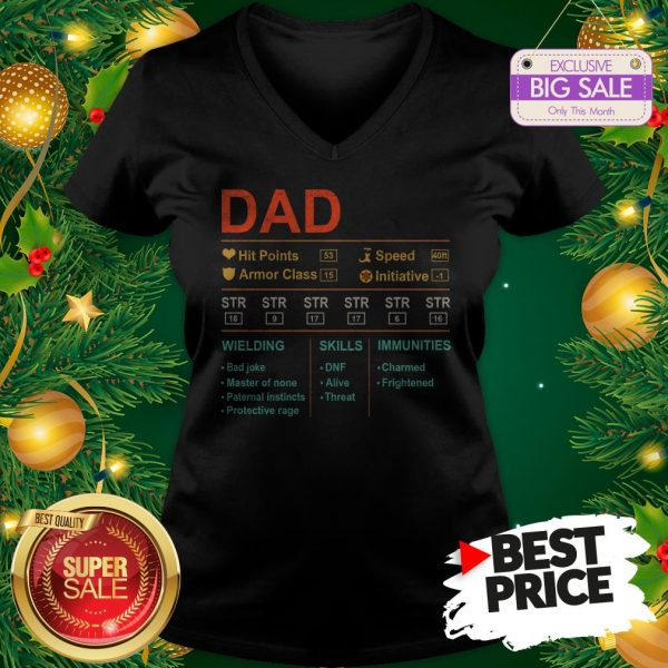 Dad Hit Points Speed Armor Class Initiative Wielding Vintage V-Neck