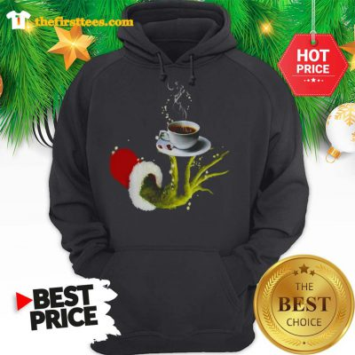 Funny Grinch Holding Coffee Cup Christmas Hoodie- Design by Thefristtees.com