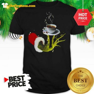 Funny Grinch Holding Coffee Cup Christmas Shirt- Design by Thefristtees.com