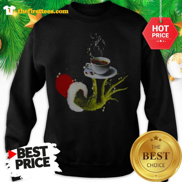 Funny Grinch Holding Coffee Cup Christmas Sweatshirt- Design by Thefristtees.com