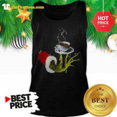 Funny Grinch Holding Coffee Cup Christmas Tank Top- Design by Thefristtees.com