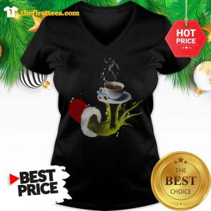 Funny Grinch Holding Coffee Cup Christmas V-Neck- Design by Thefristtees.com
