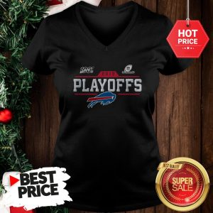 Like Buffalo Bills Logo 2019 100 NFL Playoffs V-Neck