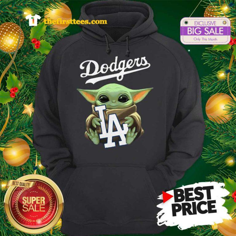 Monday Baby Yoda Hug Los Angeles Dodgers Star Wars Mandalorian Hoodie - Design by Thefristtees.com
