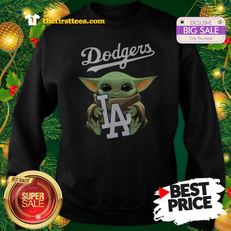 Monday Baby Yoda Hug Los Angeles Dodgers Star Wars Mandalorian Sweatshirt - Design by Thefristtees.com