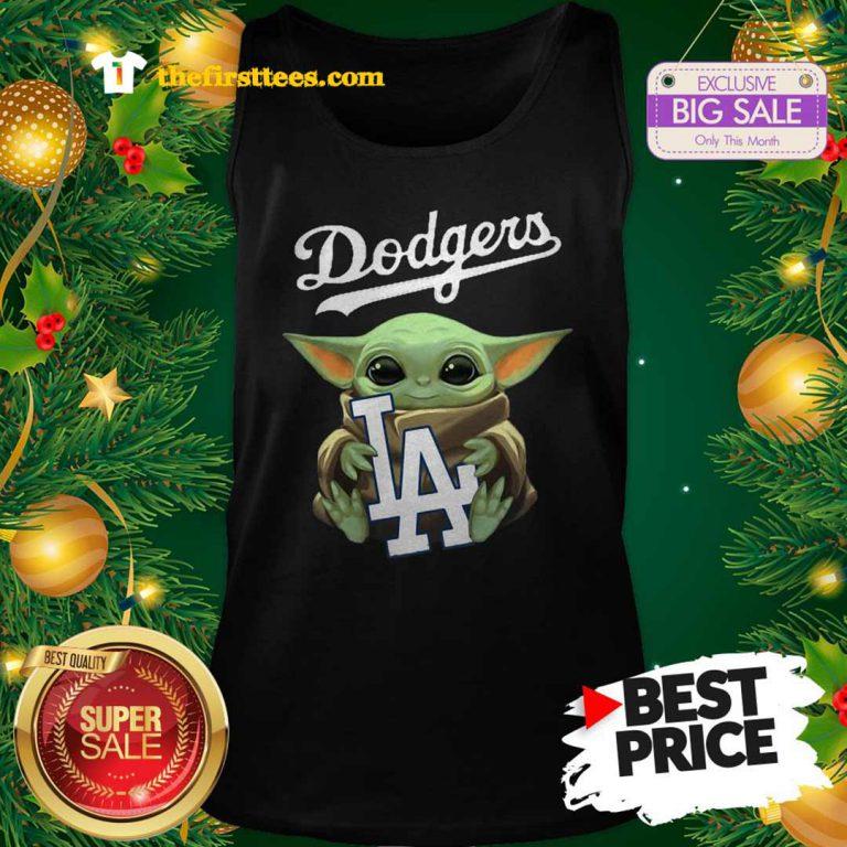 Monday Baby Yoda Hug Los Angeles Dodgers Star Wars Mandalorian Tank Top - Design by Thefristtees.com