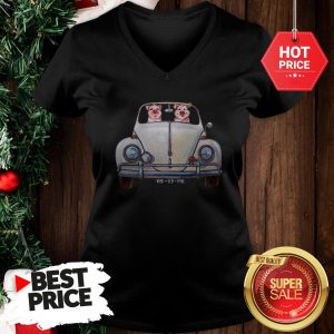 Nice Pigs Driving Volkswagen Car V-Neck
