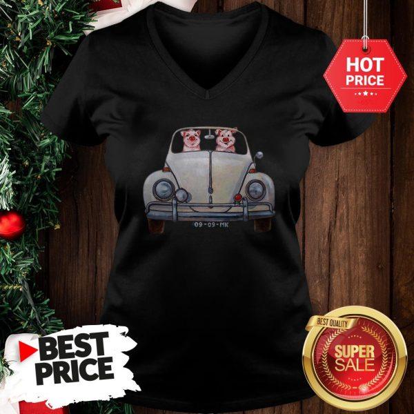 Nice Pigs Driving Volkswagen Car V-Neck
