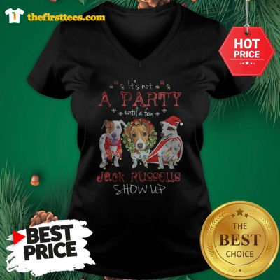 Official A Wonderful It's Not A Party Until A Few Jack Russells Show Up Christmas V-Neck- Design by Thefristtees.com