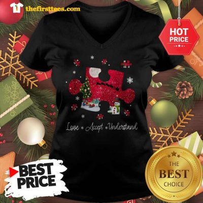 Official Autism Love Accept Understand Merry Christmas V-neck - Design by Thefristtees.com