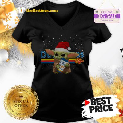 Official Baby Yoda Hug Dutch Bros Coffee Christmas Lovely V-Neck - Design by Thefristtees.com