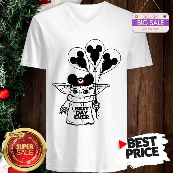 Official Baby Yoda Mickey Best Day Ever V-Neck