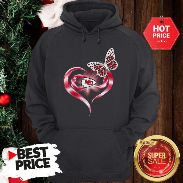 Official Beautiful Butterfly Love Kansas City Chiefs Heart Hoodie