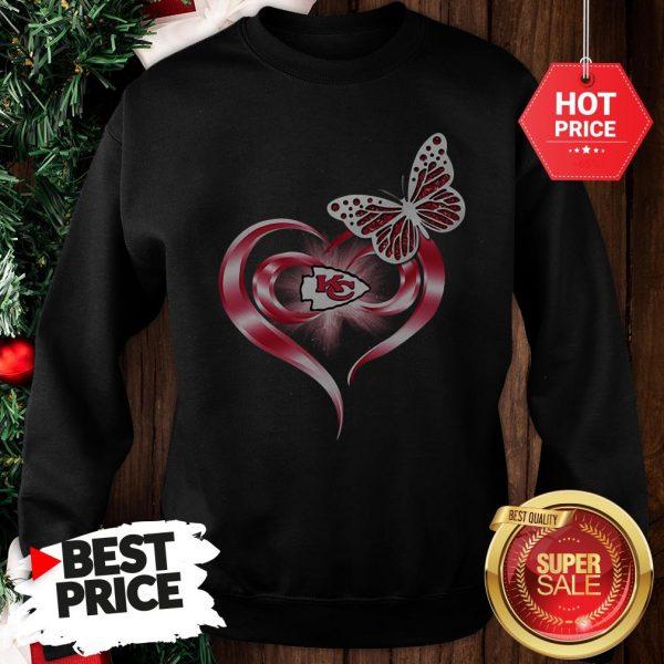 Official Beautiful Butterfly Love Kansas City Chiefs Heart Sweatshirt
