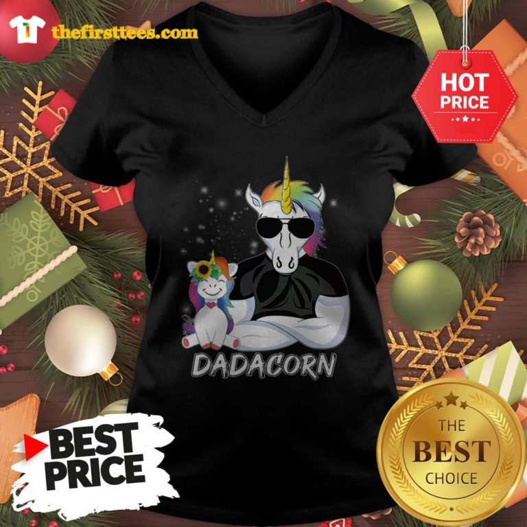 Official Dadacorn Unicorn Dad And Daughter Christmas V-Neck - Design by Thefristtees.com