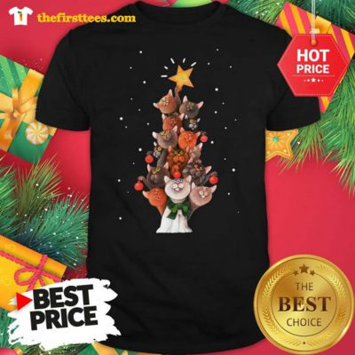 Official Funny Cats Christmas Tree Christmas Shirt - Design by Thefristtees.com
