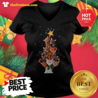 Official Funny Cats Christmas Tree Christmas V-neck - Design by Thefristtees.com