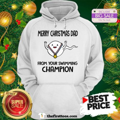 Official Funny Merry Christmas Dad From Your Swimming Champion Hoodie - Design by Thefristtees.com