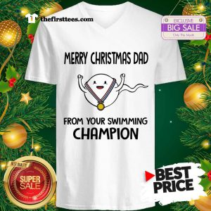 Official Funny Merry Christmas Dad From Your Swimming Champion V-Neck - Design by Thefristtees.com