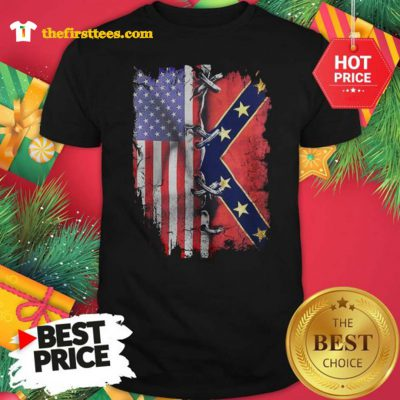 Official Hot American Flag Confederate Battle Flag Shirt - Design by Thefristtees.com