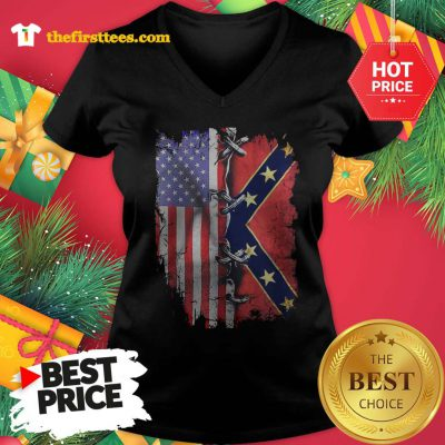 Official Hot American Flag Confederate Battle Flag V-neck - Design by Thefristtees.com