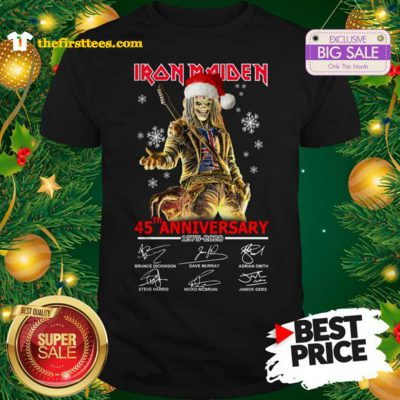 Official Hot Iron Maiden 45th Anniversary 1975-2020 Shirt - Design by Thefristtees.com