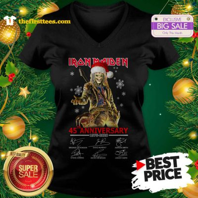 Official Hot Iron Maiden 45th Anniversary 1975-2020 V-Neck - Design by Thefristtees.com