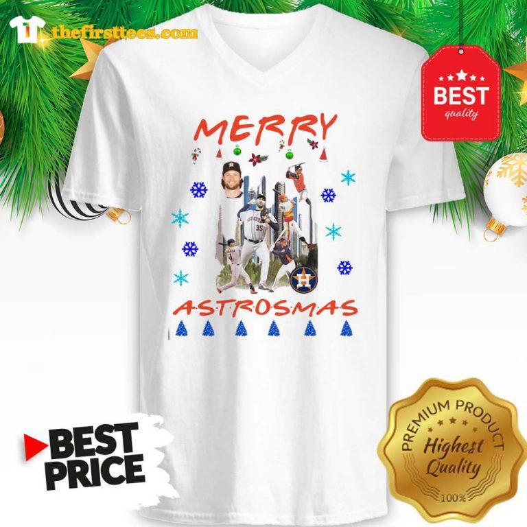 Official Houston Astros Merry Astrosmas Christmas A Funny V-Neck- Design by Thefristtees.com