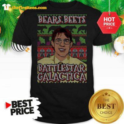 Official Michael Scott Bears Beets Battlestar Galactica Ugly Christmas Shirt - Design by Thefristtees.com